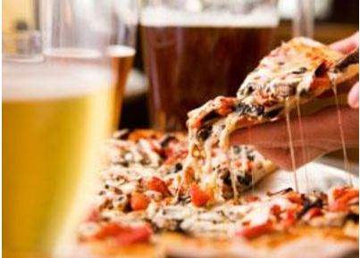 pic of pizzas & beer
